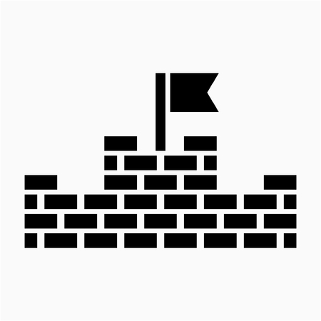 Glyph China Great Wall pixel perfect vector icon  イラスト・ベクター素材