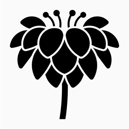 Glyph Dahlia flower pixel perfect vector icon