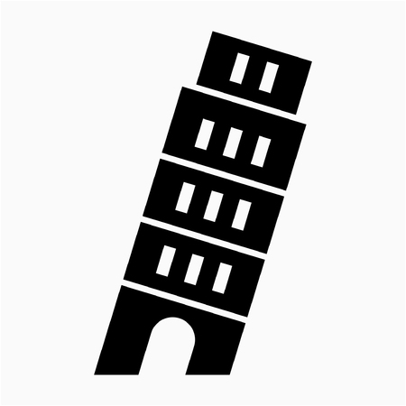 Glyph Italy Pisa tower pixel perfect vector icon