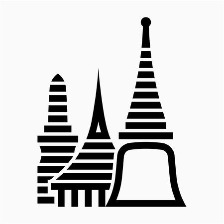 Outline Wat Phra Kaew in Bangkok Thailand pixel perfect vector icon