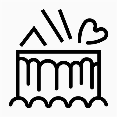 Outline birthday cake pixel perfect vector icon
