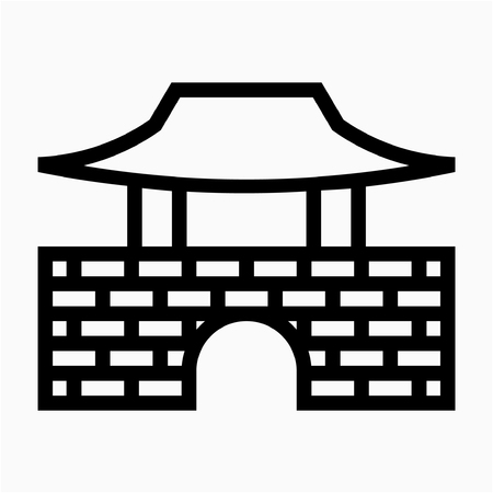 Outline Namhansanseong Seoul Korea pixel perfect vector icon  イラスト・ベクター素材