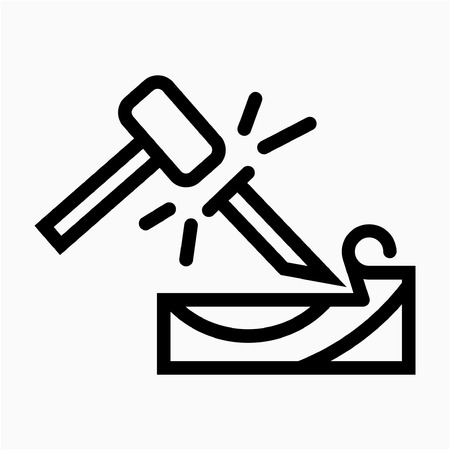 Outline woodworker pixel perfect vector icon