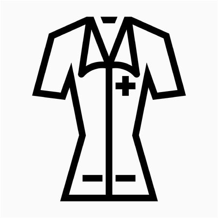 Outline nurse uniform pixel perfect vector icon Vektorové ilustrace