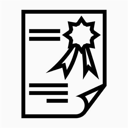 Icono de vector perfecto de píxeles de certificación de contorno