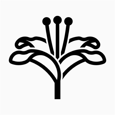 Outline Lily flower pixel perfect vector icon