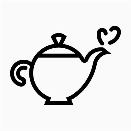 Outline hot tea pixel perfect vector icon