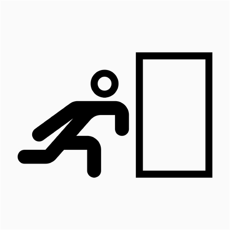 Outline exit sign pixel perfect vector icon
