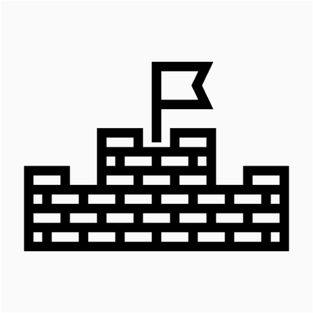 Outline China Great Wall pixel perfect vector icon
