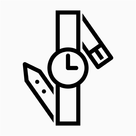 Outline watch pixel perfect vector icon