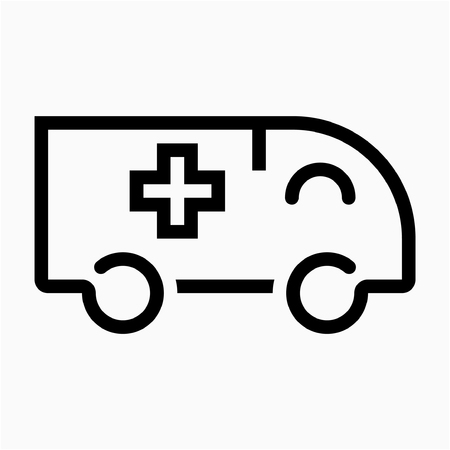 Outline ambulance pixel perfect vector icon Ilustrace
