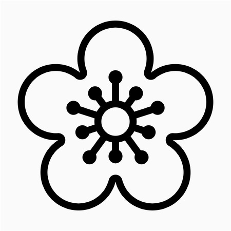 outline Apricot Blossom flower pixel perfect vector icon Illustration