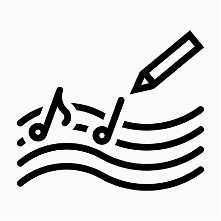 Outline Song composer pixel perfect vector icon Иллюстрация