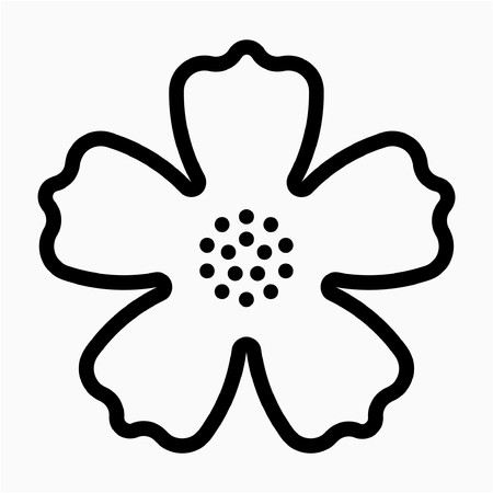 outline Hibiscus flower pixel perfect vector icon