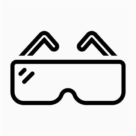Outline safety glasses pixel perfect vector icon Çizim