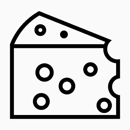 Outline cheese pixel perfect vector icon