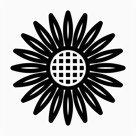outline sunflower pixel perfect vector icon Ilustrace
