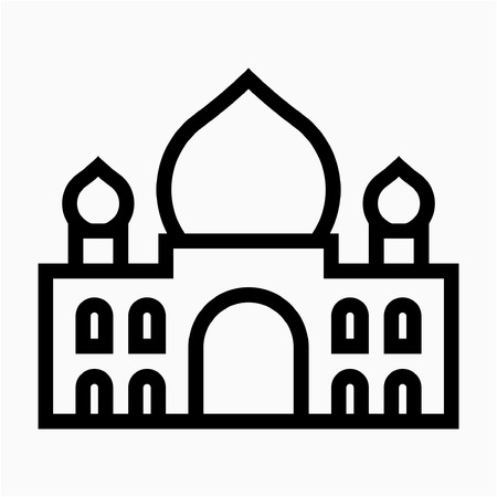 Outline Taj Mahal mausoleum pixel perfect vector icon  イラスト・ベクター素材