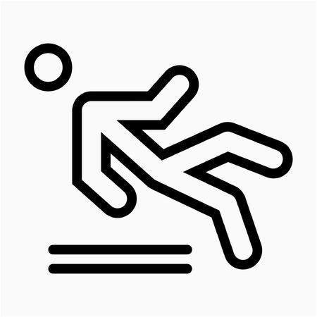 Outline floor wet sign pixel perfect vector icon Ilustrace