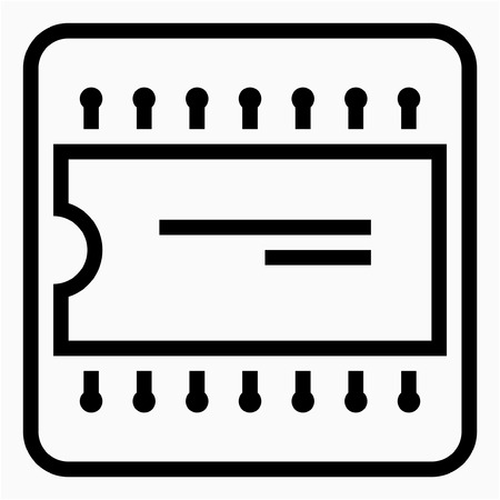 Outline Electronics industry pixel perfect vector icon Ilustrace