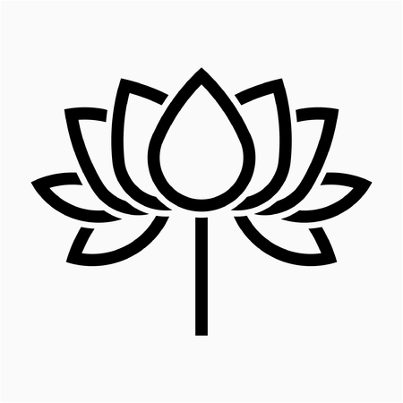 Outline Lotus flower pixel perfect vector icon