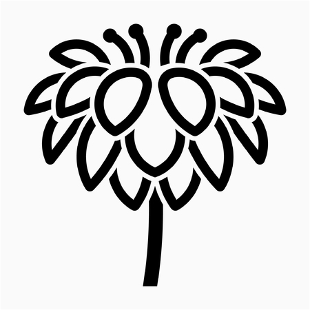 Outline Dahlia flower pixel perfect vector icon