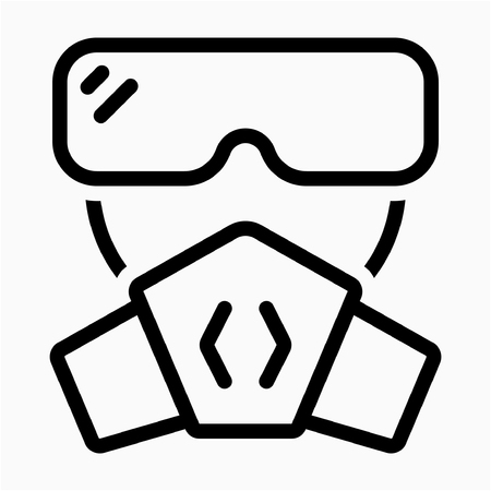 Outline gas toxic mask pixel perfect vector icon