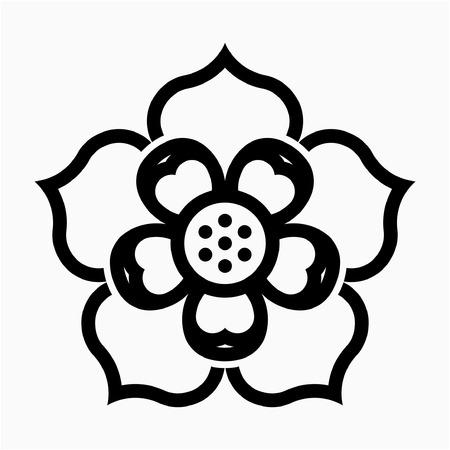 outline Lotus flower pixel perfect vector icon Ilustração