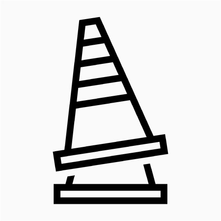 Outline safety cone sign pixel perfect vector icon Reklamní fotografie - 111941308