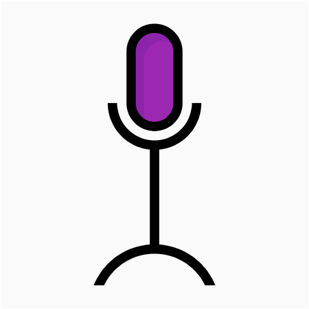 Coloured outline microphone pixel perfect vector icon