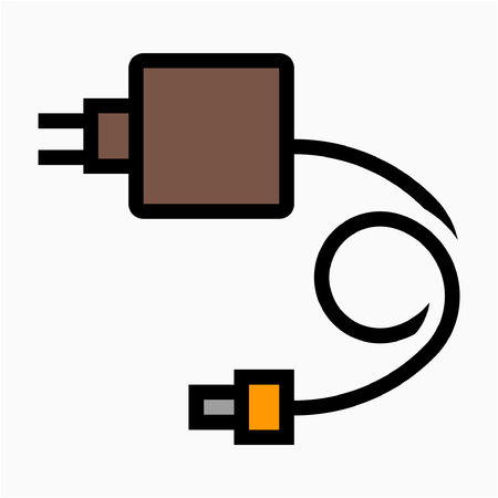 Coloured outline laptop adaptor pixel perfect vector icon