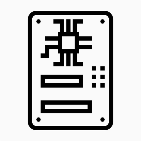 Outline motherboard pixel perfect vector icon