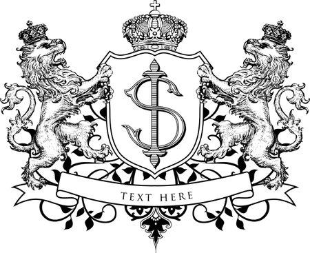 SI Classic Monogram with Lion Heraldry Ornament for Wedding Invitation