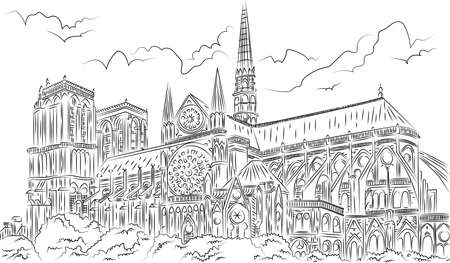Notre-Dame Cathedral de Paris Hand Drawing  イラスト・ベクター素材
