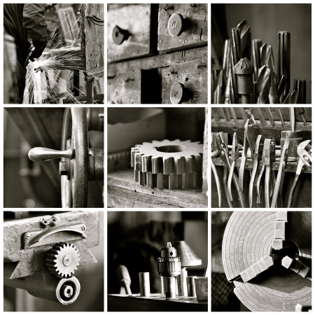 Black and white collage of various old machine shop images  photo