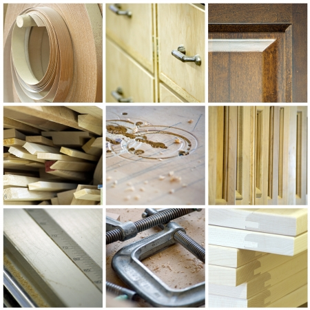 Cabinetry collage, made up of various woodworking and tool images  photo