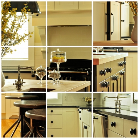 Collage of various images of kitchen cabinetry 版權商用圖片