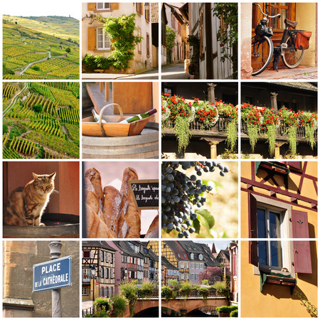 Variety of images from the wine region of Alsace, France photo