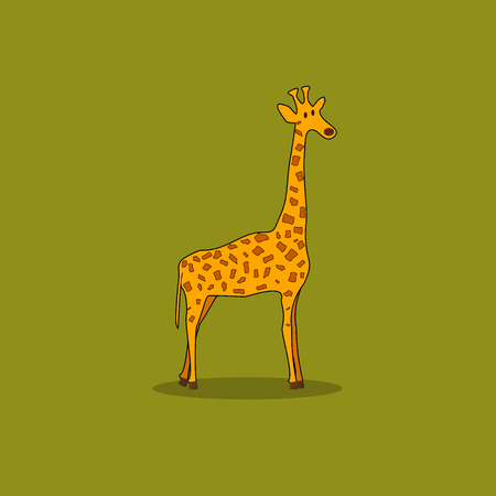 Cute Cartoon Giraffe Standing Isolated on a Green Background Vector Illustration