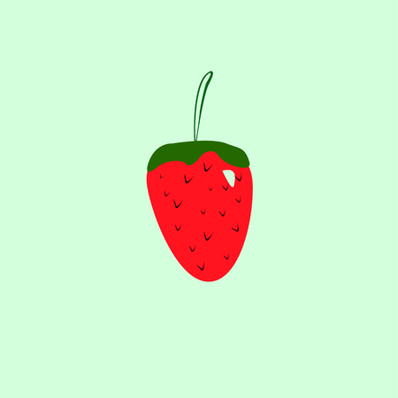 Red Cute Cartoon Style Trinket Strawberry Isolated