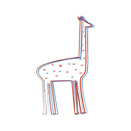Leuke Cartoon Style Triple Contour van Giraf Met Dots Geïsoleerde Vector Illustratie