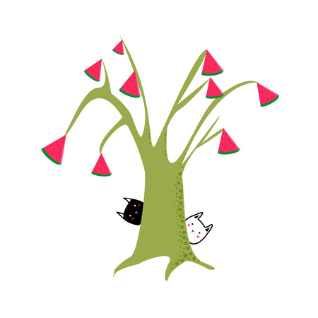 Cute abstract tree with leaves in shape of watermelon with black and white cats cartoon style isolated vector illustration Illustration