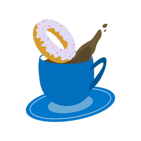 Blue cup of coffee with little drop in air and donut on white background Vector Illustration