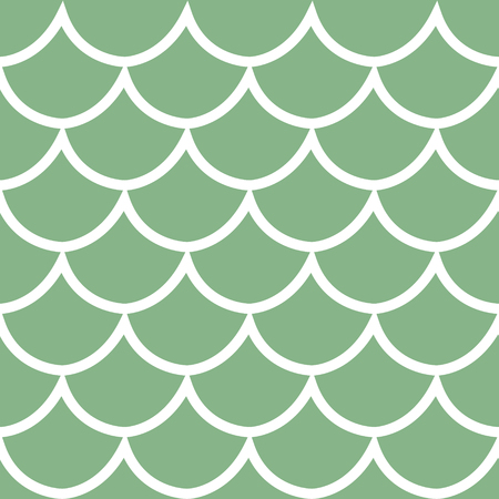 Seamless pattern white fish scale texture on green background cartoon style vector illustration Vettoriali