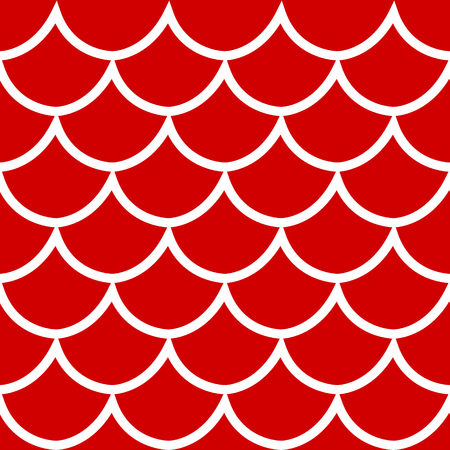 Seamless pattern white fish scale texture on red background cartoon style vector illustration Иллюстрация
