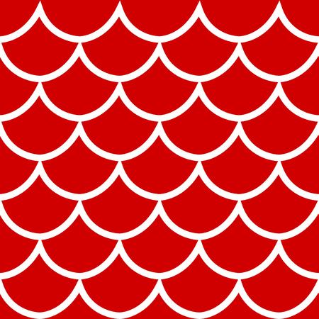 Struttura senza cuciture della squama del modello bianco sull'illustrazione rossa di vettore di stile del fumetto del fondo Archivio Fotografico - 97574009