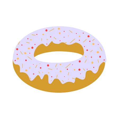 White donut cartoon style isolated vector illustration Illustration