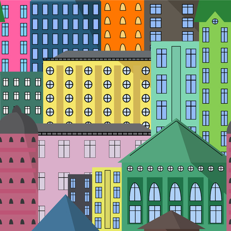 Seamless pattern of different european abstract colorful houses cartoon style vector illustration