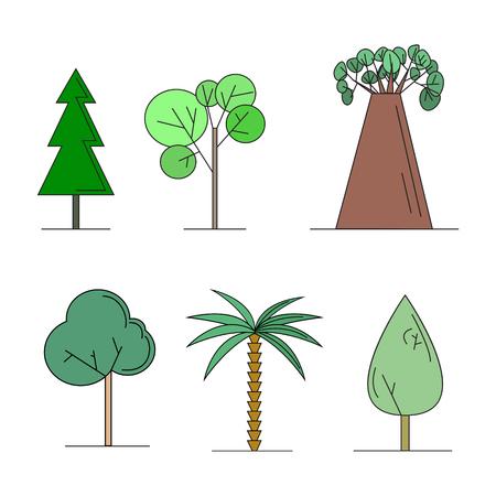 Set of different kind of trees cartoon style vector illustration 向量圖像