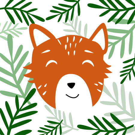 Head of cute orange animal with plants cartoon style vector illustration